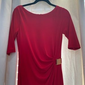 Red Tahari Dress with Gold Buckle